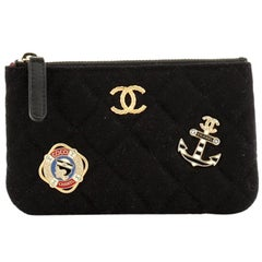 Chanel Paris-Hamburg Charms Cosmetic Case Quilted Wool Small