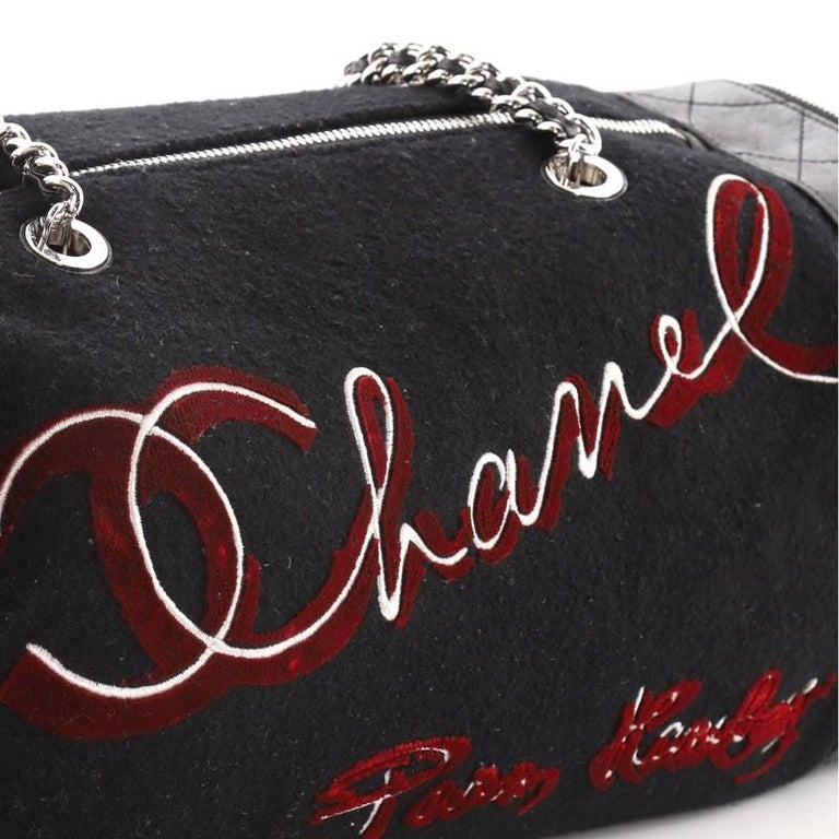 Chanel Paris-Hamburg Duffle Embroidered Wool with Quilted Calfskin For Sale 2