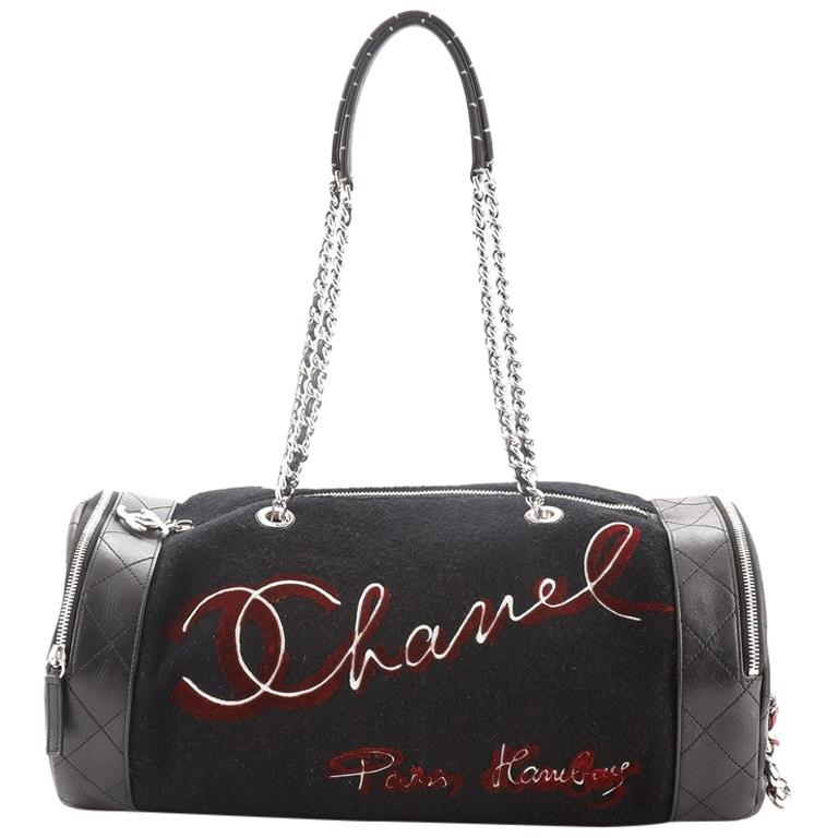 Chanel Paris-Hamburg Duffle Embroidered Wool with Quilted Calfskin For Sale