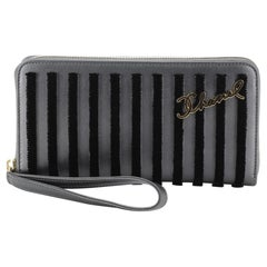 Chanel Paris-Hamburg Wristlet Zip Around Wallet Velvet Striped Leather