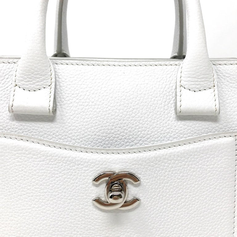 Chanel Nano Executive white Excellent condition with removable shoulder strap Silver accessories Year 2016/17 Dust-Bag card of authenticity  Size 22x10 cm
