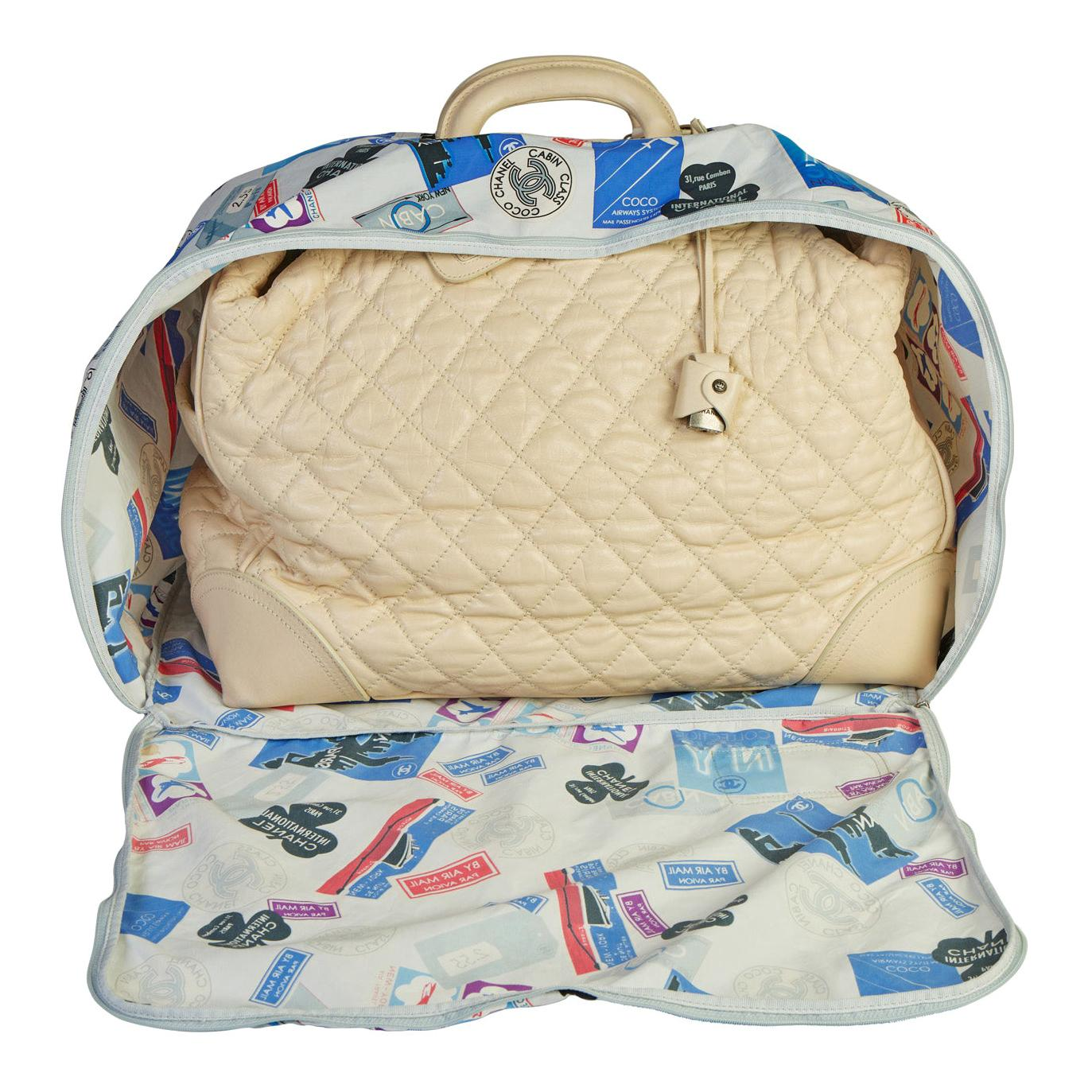 Chanel Paris New York Cream Traveler Weekender Bag