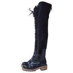 Chanel Paris Salzburg Black Leather Suede Over Knee Boots