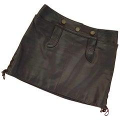 Chanel Paris Salzburg Brown Leather Mini Skirt