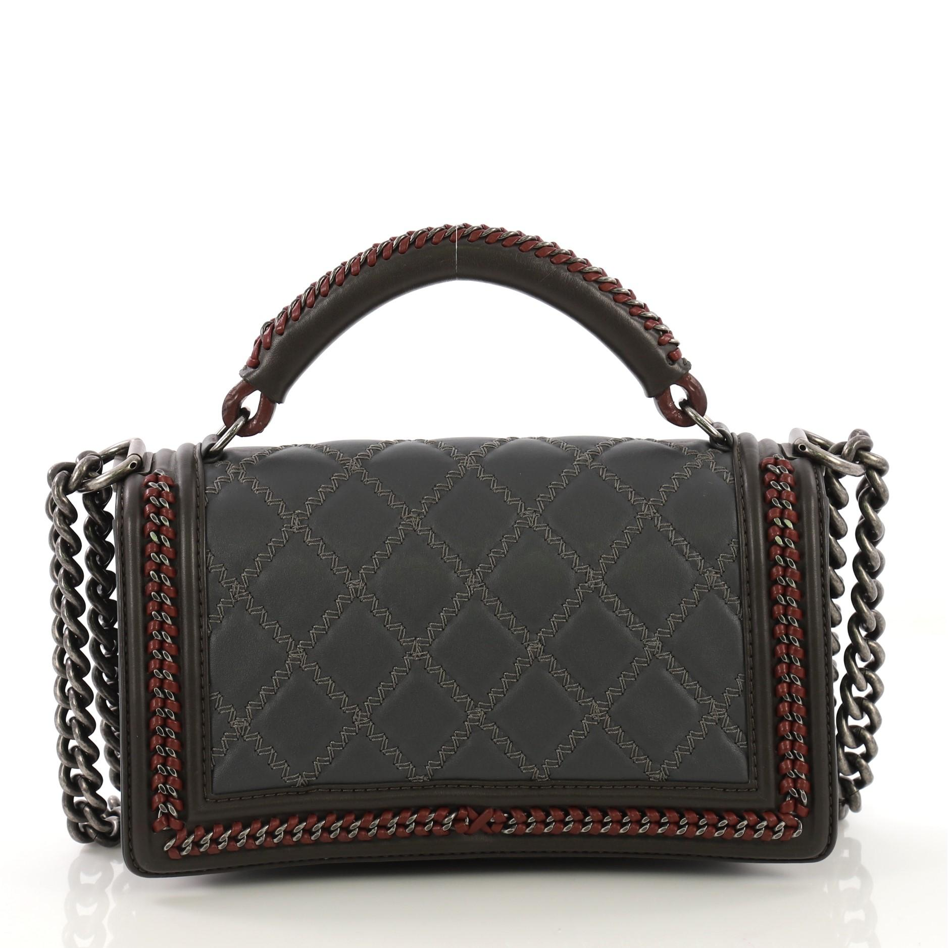 2d05e4773f62f2 Chanel Paris-Salzburg Chain Handle Boy Flap Bag Quilted Lambskin Old Medium  at 1stdibs