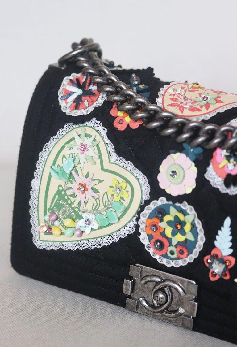 Black Chanel Paris-Salzburg Embroidered Quilted Felt Medium Boy Flap Bag  For Sale