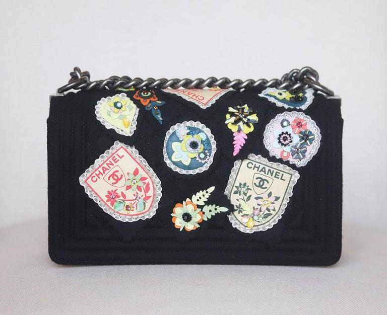 Chanel Paris-Salzburg Embroidered Quilted Felt Medium Boy Flap Bag  For Sale 2