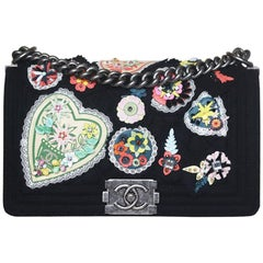 Chanel Paris-Salzburg Embroidered Quilted Felt Medium Boy Flap Bag