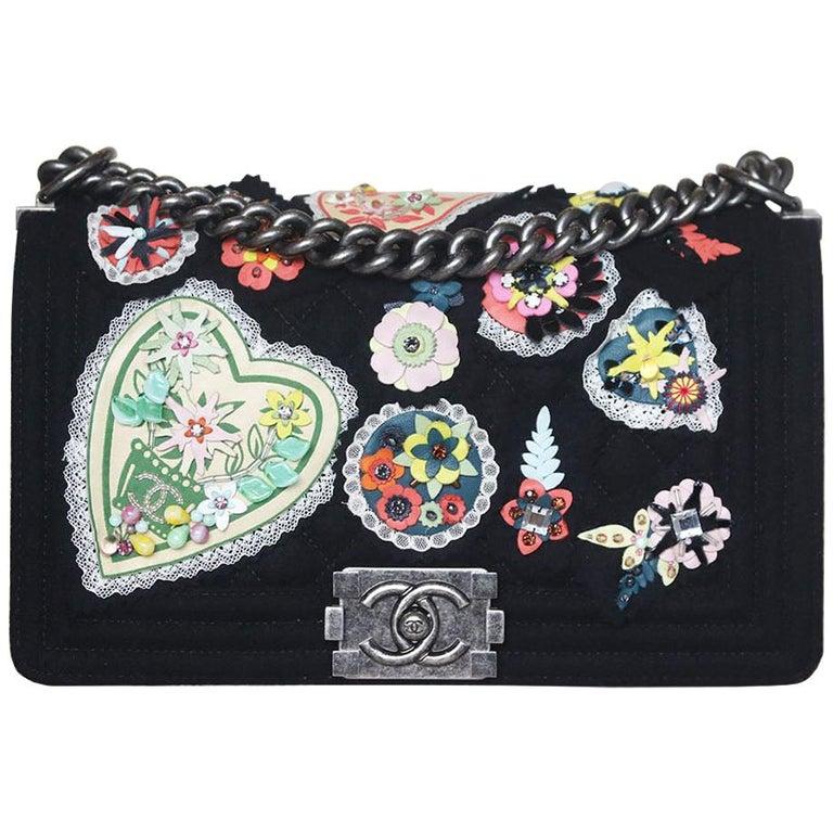 Chanel Paris-Salzburg Embroidered Quilted Felt Medium Boy Flap Bag  For Sale