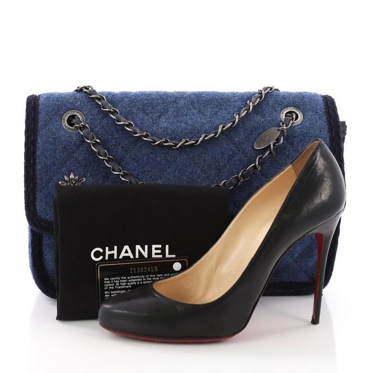 57b32f5ecd05 This Chanel Paris-Salzburg Flap Bag Quilted Wool Small, crafted from blue  quilted wool