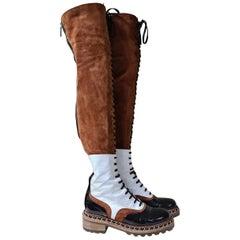 Chanel Paris Salzburg Multicolour Leather Suede Over Knee Boots
