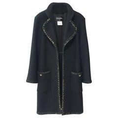 Chanel Paris Salzburg Runway Gripoix Buttons  Black Coat Jacket