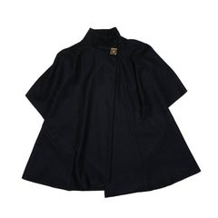 CHANEL 'Paris Shanghai' Mid-Length Cape in Black Wool and Cashmere Size 34 FR