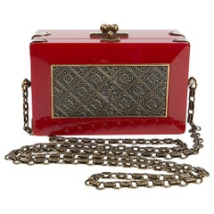 CHANEL Paris-Shanghai Minaudière in Red Resin and Gilt Metal