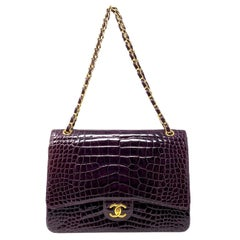 Chanel Paris Shiny Purple Crocodile Maxi Jumbo Timeless Bag, 2012