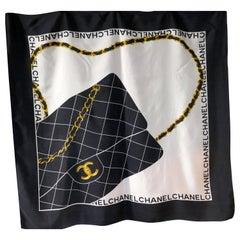 Chanel Paris Silk Scarf - Classic Chanel Black & White Hand Bag Design