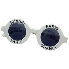 Chanel Paris white Logo Sunglasses
