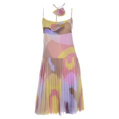Chanel Pastel Abstract Logo CC Print Silk Chiffon Dress With Pleated Skirt