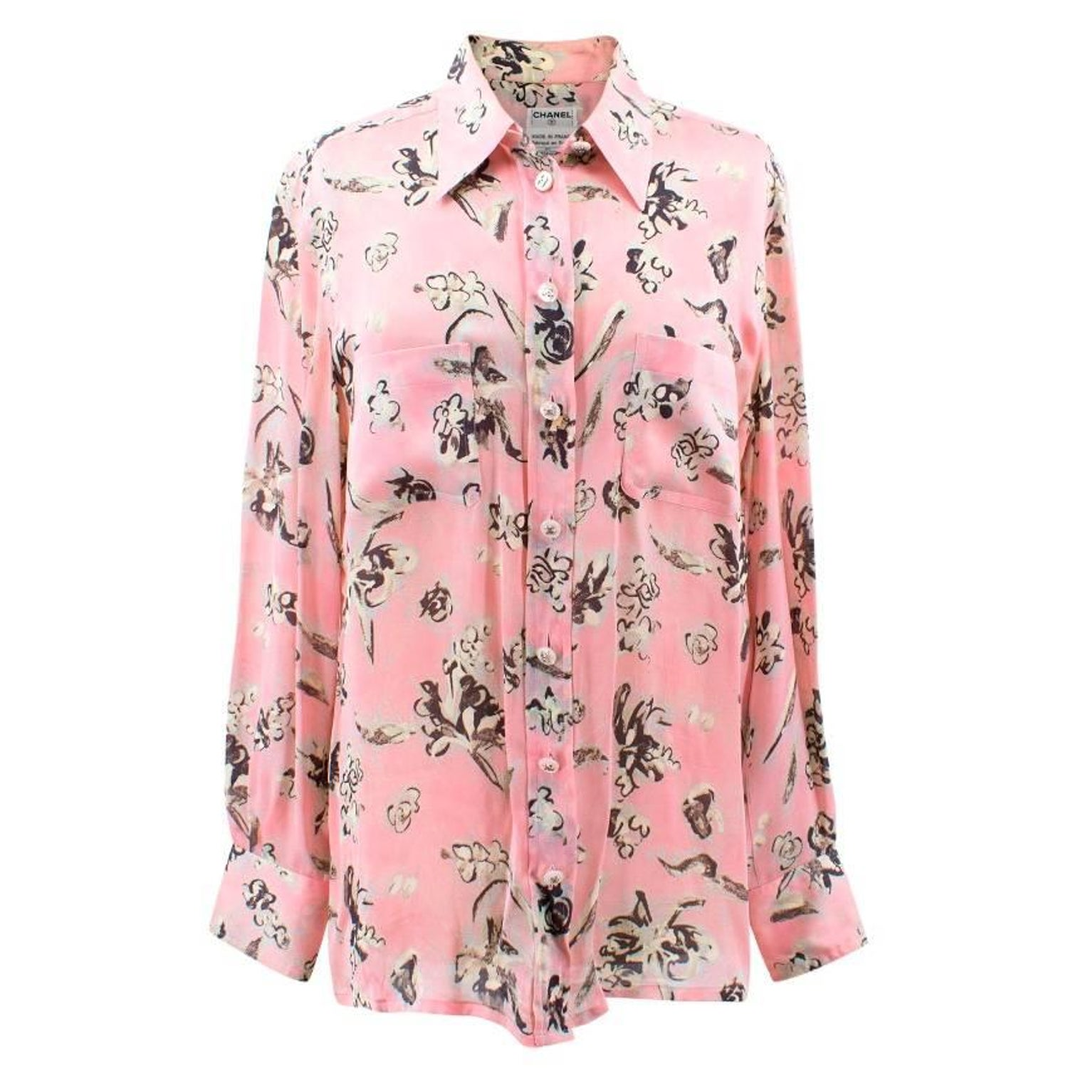 Chanel pastel pink with flower print silk blouse for sale at 1stdibs mightylinksfo