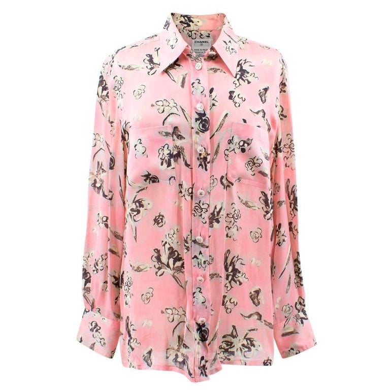 Chanel pastel pink with flower print silk blouse for sale at 1stdibs chanel pastel pink with flower print silk blouse for sale mightylinksfo