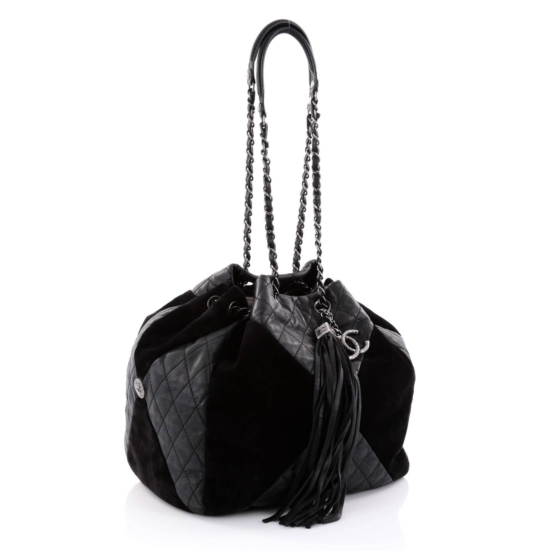 d7a0ef305738 Chanel Patchwork Drawstring Bag Quilted Leather and Suede Large at 1stdibs