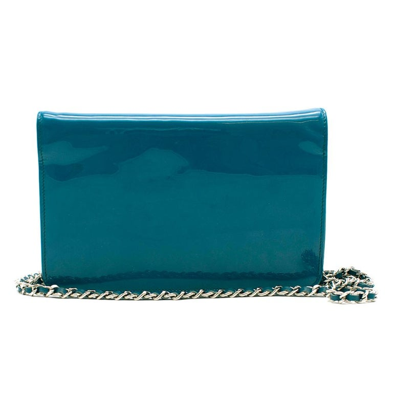 Blue Chanel Patent Embossed CC Wallet On Chain For Sale