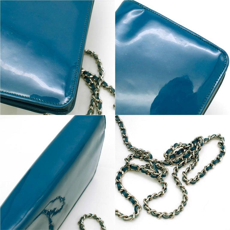 Chanel Patent Embossed CC Wallet On Chain For Sale 2