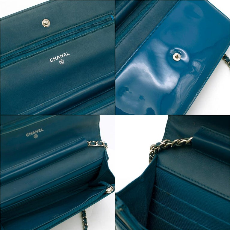 Chanel Patent Embossed CC Wallet On Chain For Sale 3