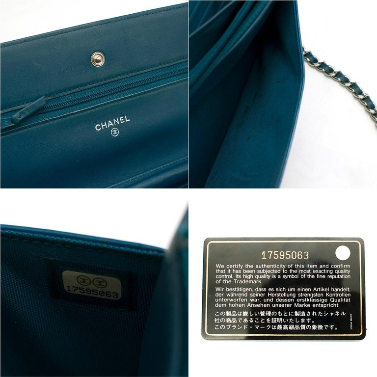 Chanel Patent Embossed CC Wallet On Chain For Sale 4