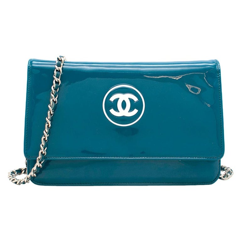Chanel Patent Embossed CC Wallet On Chain For Sale
