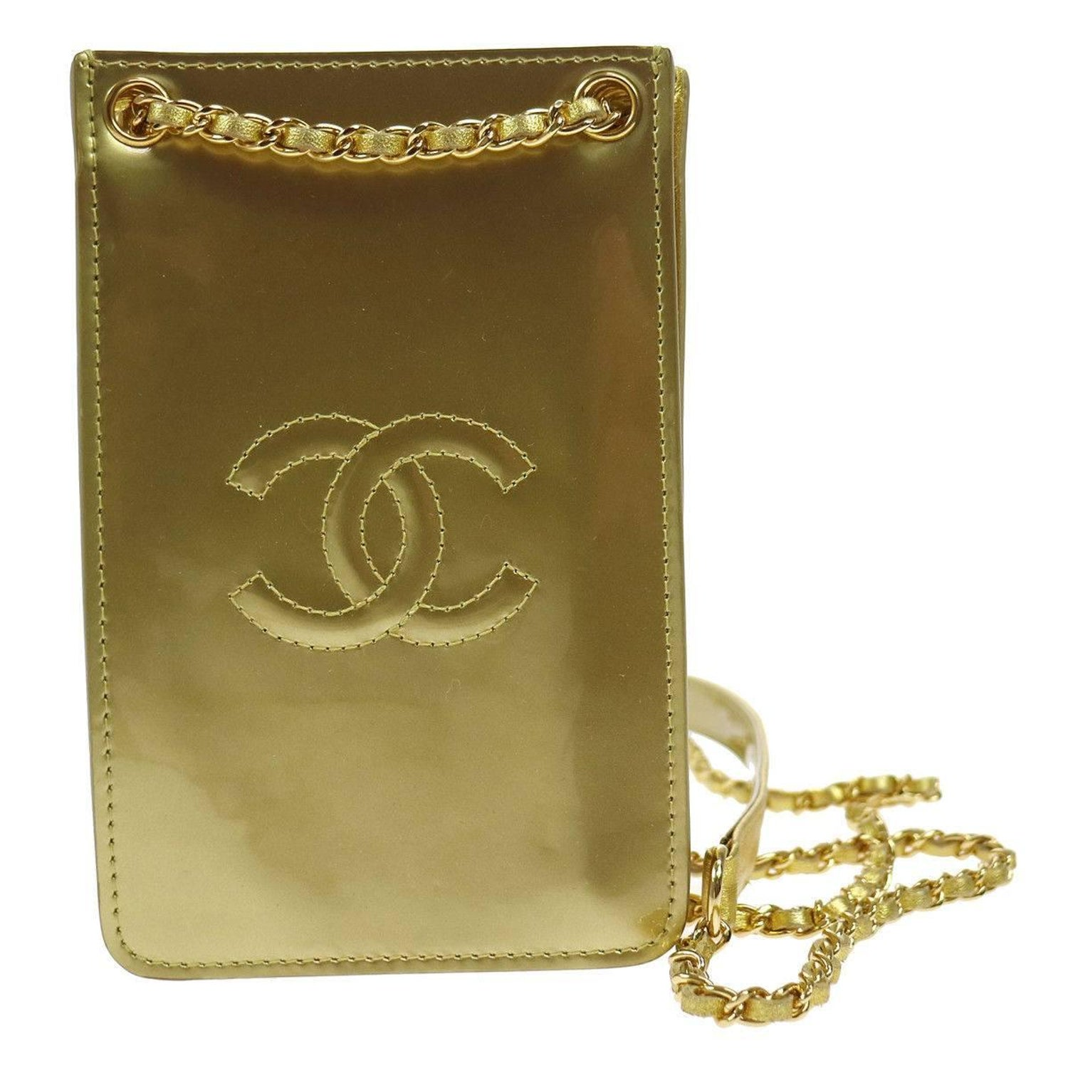 d6eaba7000e7 Chanel Patent Gold Cell Phone Case Mobile Crossbody Shoulder Bag in Box For  Sale at 1stdibs