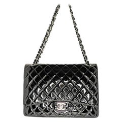 Chanel Patent Leather Maxi Classic Double Flap Black
