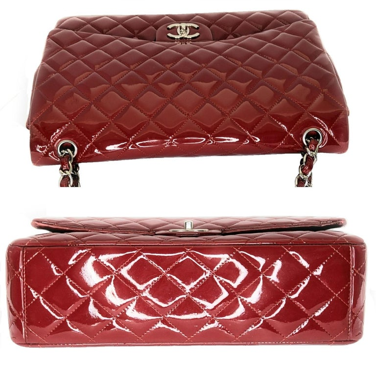 Chanel Patent Leather Maxi Classic Double Flap Prune In Excellent Condition For Sale In Scottsdale, AZ