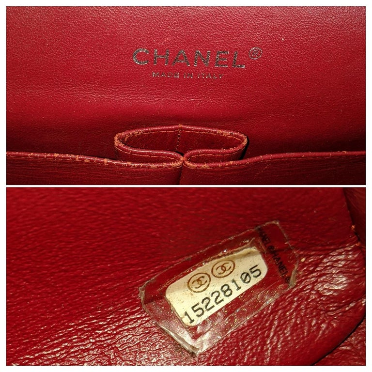 Chanel Patent Leather Maxi Classic Double Flap Prune For Sale 2