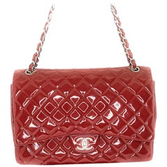 Chanel Patent Leather Maxi Classic Double Flap Prune