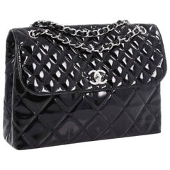 CHANEL patent Single Flap In The business Flap bag Maxi Size