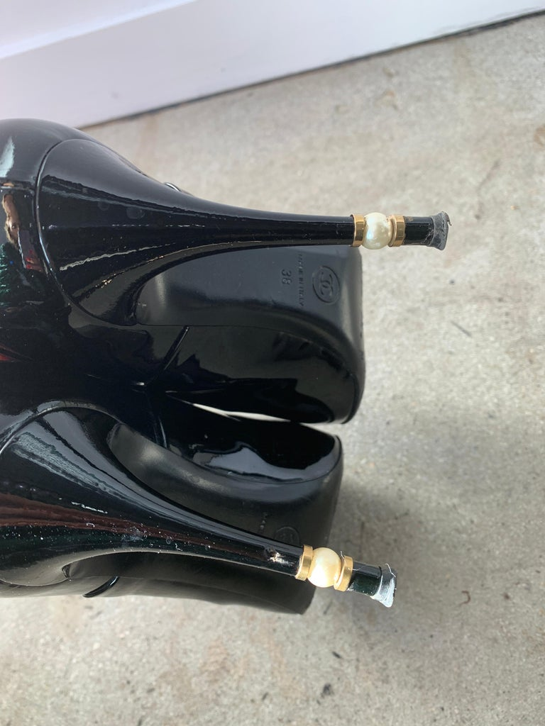 Chanel Black Patent Stiletto Ankle Boots Size 38.5  For Sale 1
