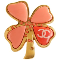 Chanel Peach Gripoix Clover Pin