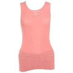 Chanel Peach Perforated Rib Knit Logo Applique Detail Sleeveless Tank Top M