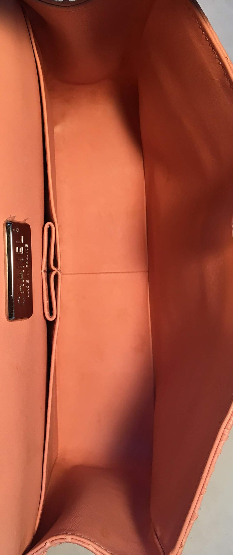 Chanel Peach Pink Python Jumbo 2.55 Double Flap Classic Shoulder Bag For Sale 5