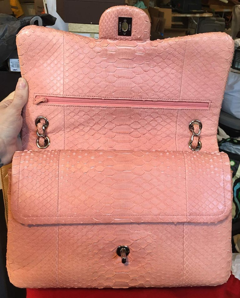 Chanel Peach Pink Python Jumbo 2.55 Double Flap Classic Shoulder Bag For Sale 7