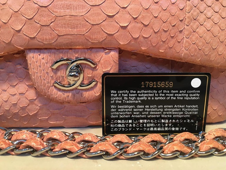 Chanel Peach Pink Python Jumbo 2.55 Double Flap Classic Shoulder Bag For Sale 9