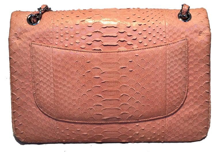 Orange Chanel Peach Pink Python Jumbo 2.55 Double Flap Classic Shoulder Bag For Sale