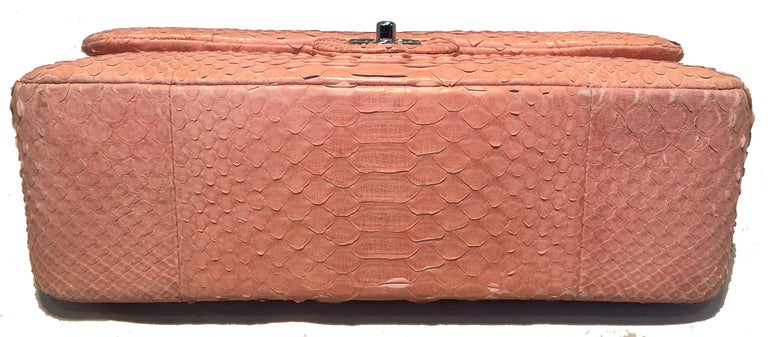 Chanel Peach Pink Python Jumbo 2.55 Double Flap Classic Shoulder Bag In Excellent Condition For Sale In Philadelphia, PA