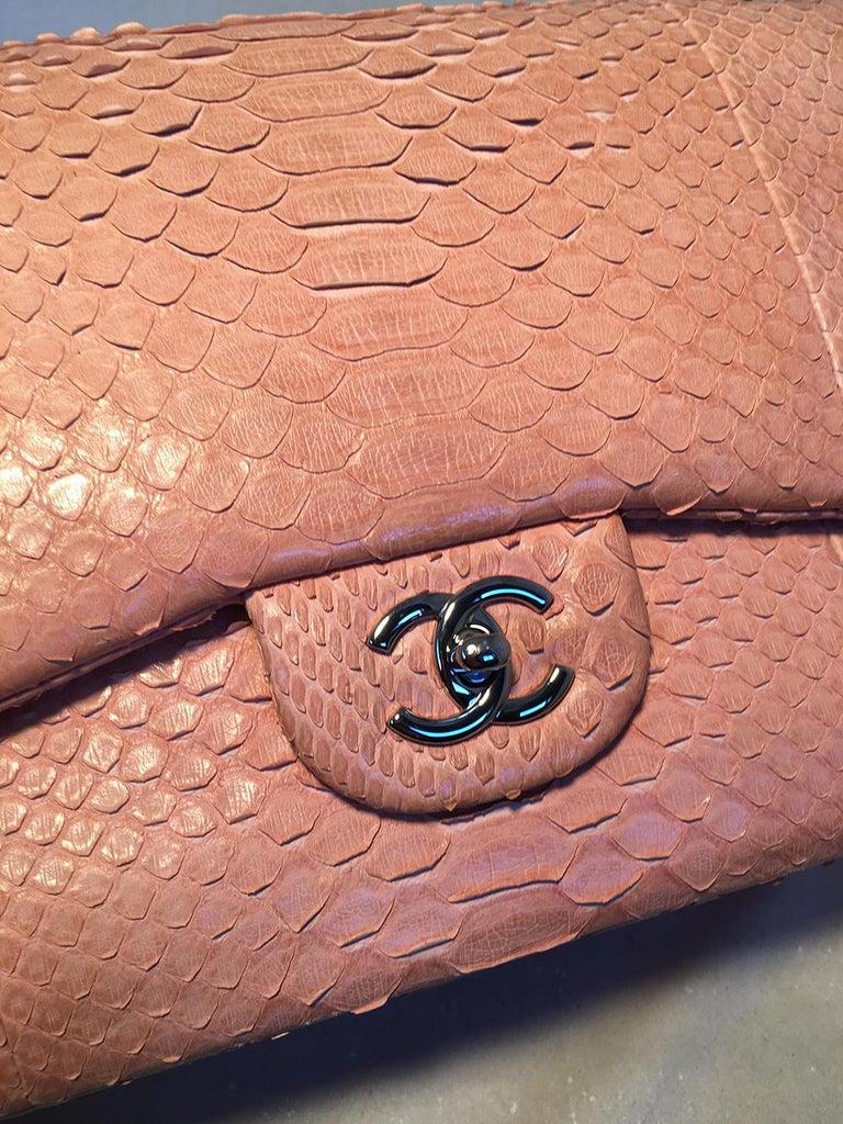 Women's Chanel Peach Pink Python Jumbo 2.55 Double Flap Classic Shoulder Bag For Sale
