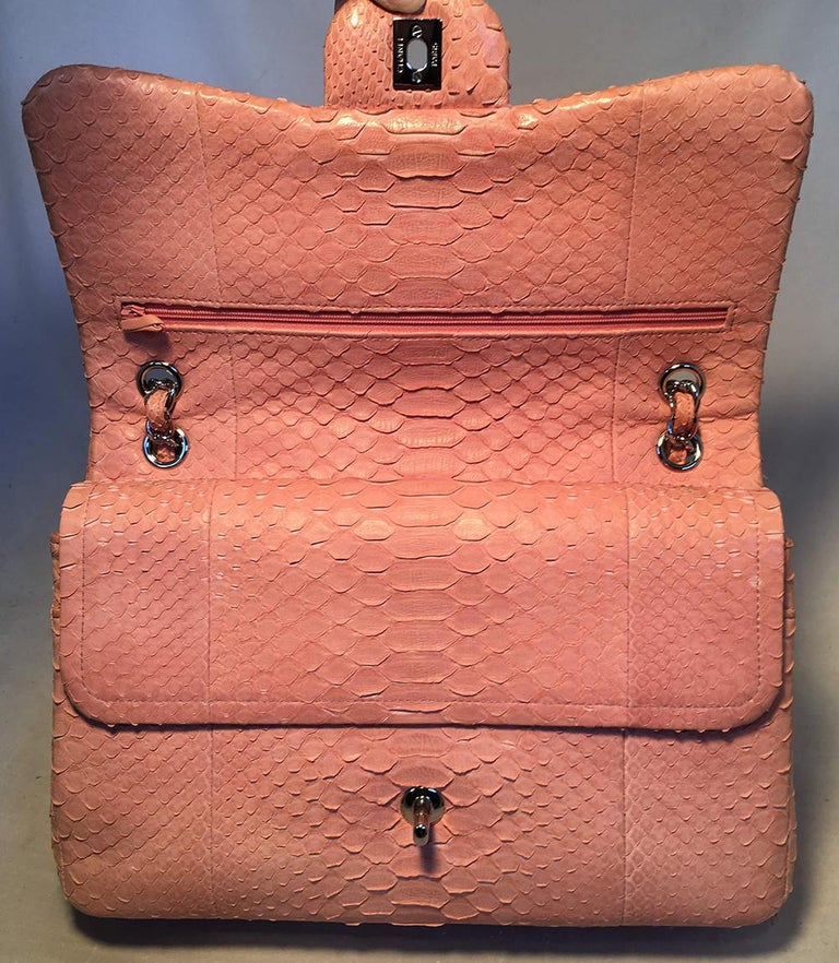 Chanel Peach Pink Python Jumbo 2.55 Double Flap Classic Shoulder Bag For Sale 1