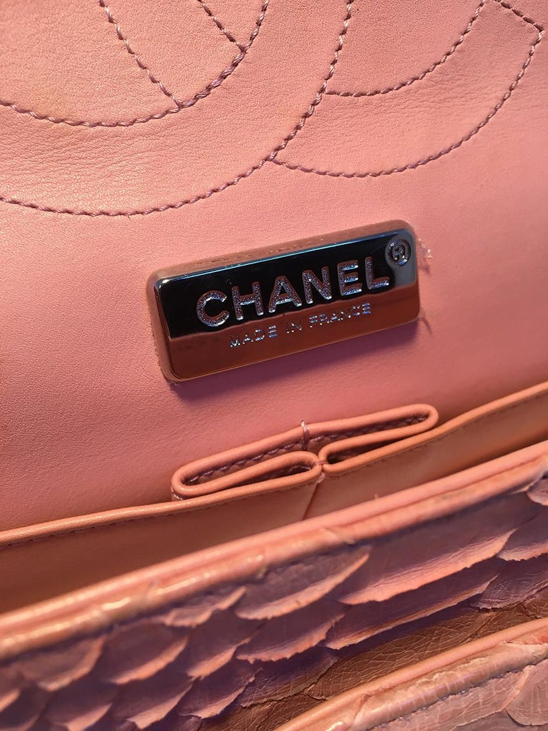 Chanel Peach Pink Python Jumbo 2.55 Double Flap Classic Shoulder Bag For Sale 4