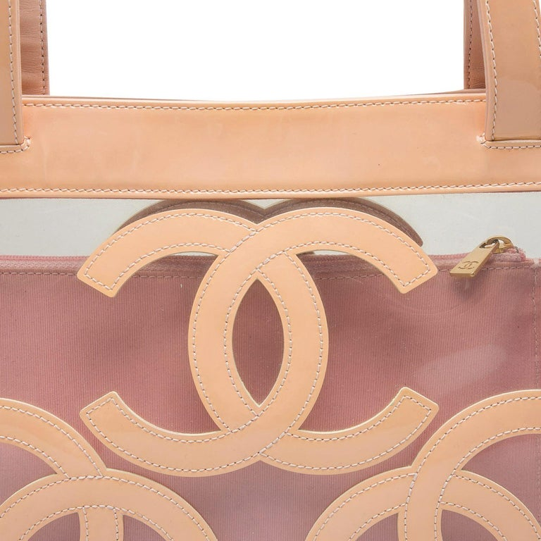 Chanel Peach PVC and Patent Leather Medium Triple CC Tote For Sale 1
