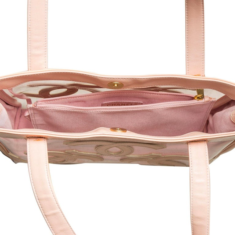 Chanel Peach PVC and Patent Leather Medium Triple CC Tote For Sale 2