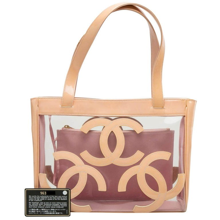 Chanel Peach PVC and Patent Leather Medium Triple CC Tote For Sale 3